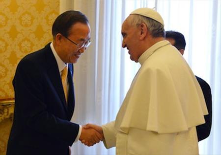 Pope Francis meets UN secretary General Ban Ki-moon