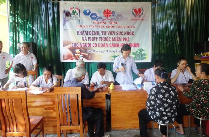Caritas Hải Phòng: Khám bệnh, tư vấn sức khỏe và phát thuốc miễn phí tại xã Hiến Thành (Kinh Môn, Hải Dương)
