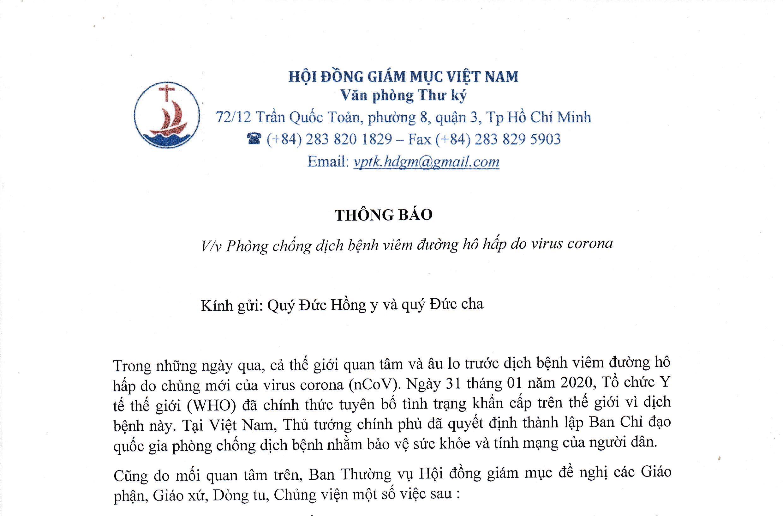 Hội Đồng Giám Mục Việt Nam: Thông báo phòng chống dịch bệnh viêm đường hô hấp do virus corona