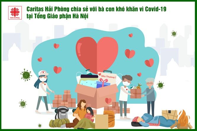 Caritas Hải Phòng chia sẻ khó khăn với bà con vùng dịch tại Hà Nội