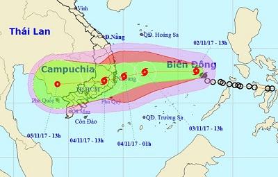 Bão số 12 nhắm vào Khánh Hòa - Ninh Thuận, sức gió 130 km/h