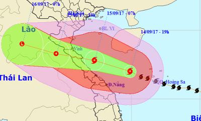 Chiều 15-9, bão số 10 sẽ vào các tỉnh từ Nghệ An đến Quảng Trị