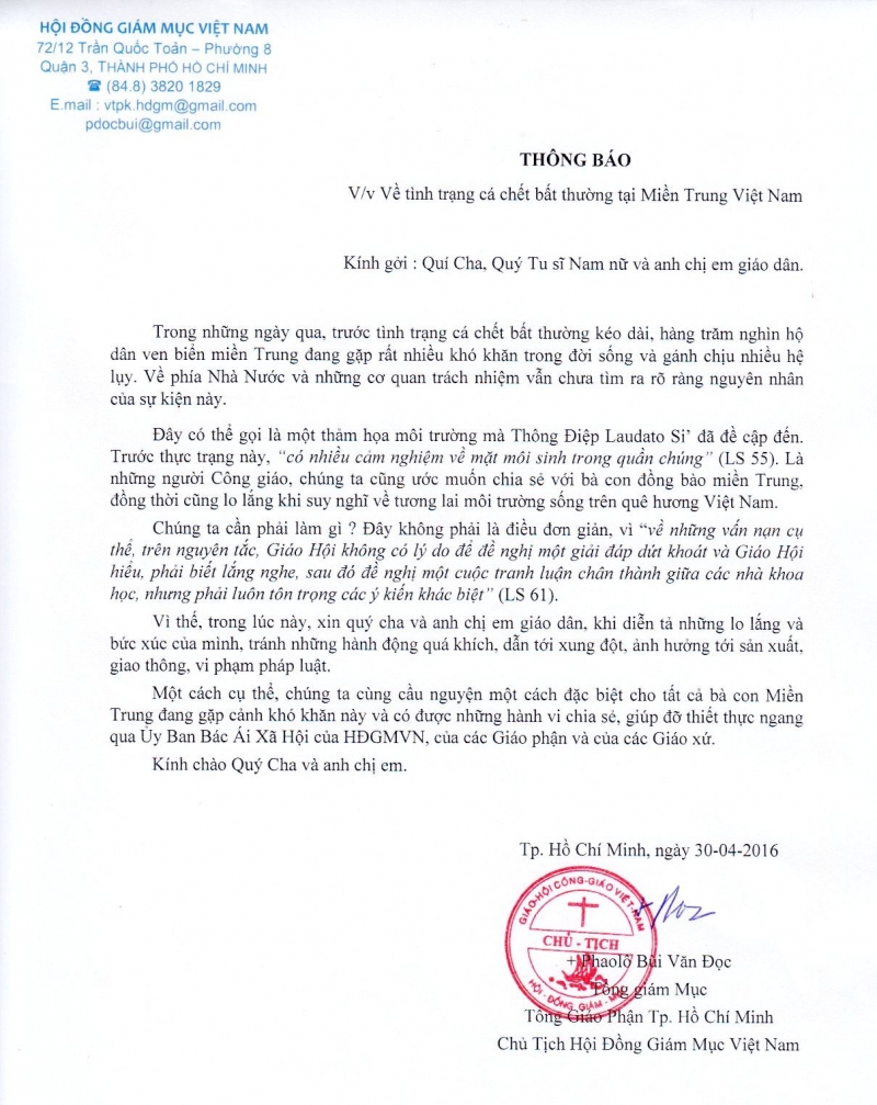Tiếng nói của Hội thánh Công giáo Việt Nam trước tình trạng cá chết bất thường tại miền Trung