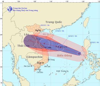Bão Sơn Tinh thành bão số 8 trên biển Đông