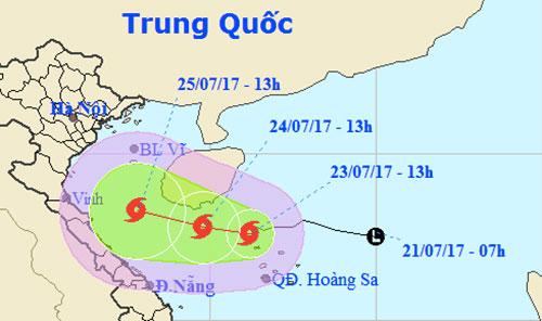 Bão cấp 8 hướng Thanh Hóa - Quảng Bình