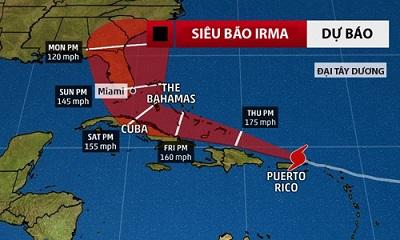 Mỹ kêu gọi 5 triệu người ở Florida sơ tán vì bão 'quái vật' Irma