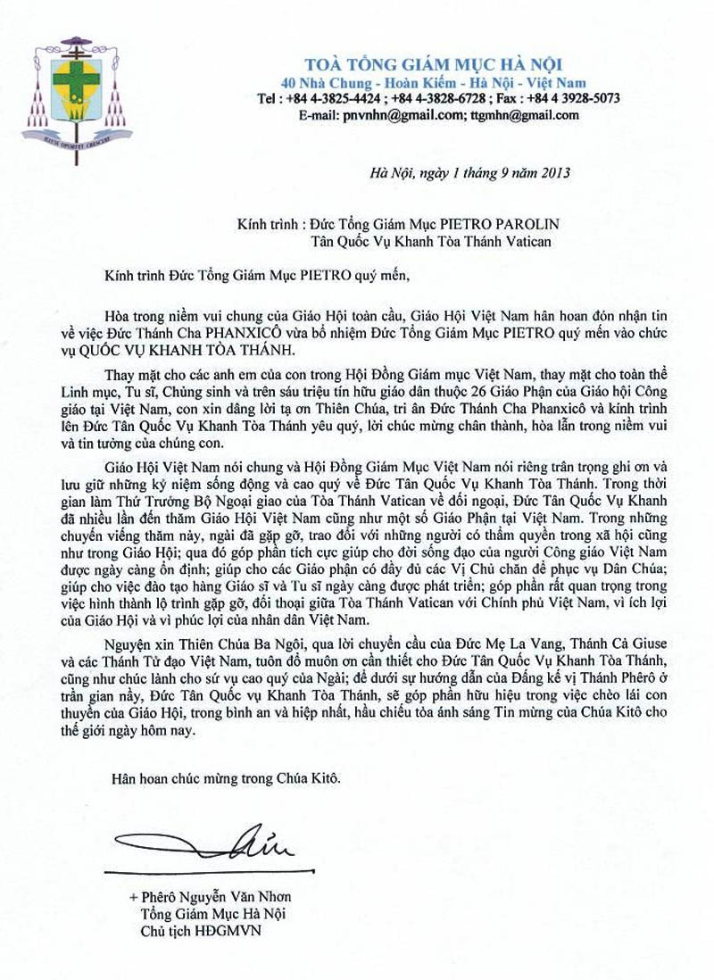 Thư của Đức Tổng giám mục Phêrô Nguyễn Văn Nhơn - Chủ tịch HĐGMVN chúc mừng Đức Tổng giám mục Pietro Parolin - Tân Quốc vụ khanh Toà Thánh - TGM Phêrô Nguyễn Văn Nhơn