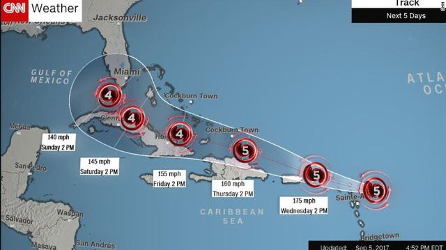 Siêu bão Irma tăng cấp độ, đe dọa Mỹ