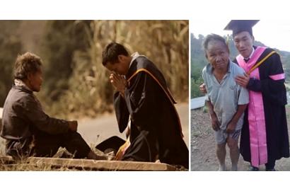 Người cha nghèo bán mọi thứ cho con đi học, ngày tốt nghiệp anh về quỳ lạy dưới chân cha