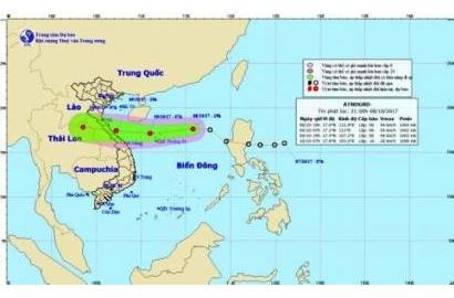 Áp thấp nhiệt đới giật cấp 8, di chuyển nhanh về miền Trung