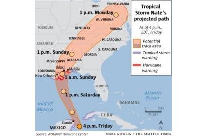 Siêu bão Nate đổ bộ miền nam Mỹ