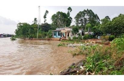 25 m bờ sông sạt lở 'ăn' sâu móng nhà, An Giang khẩn cấp di dời 11 hộ dân